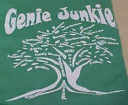 Genie Junkie Design in white on green tee shirt